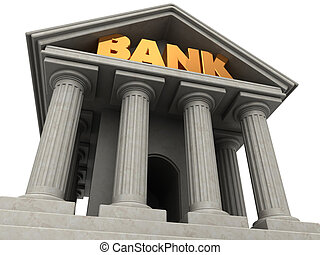 bank facade - 3d illustration of bank building facade over...
