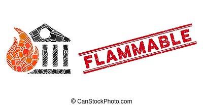 bank, feuer, mosaik, brennbar, siegel, not, feuersbrunst, ...