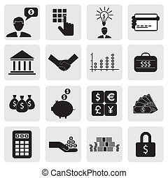 bank & finance icons(signs) related to money, wealth- vector graphic. This illustration can also represent savings account, investments, wealth creation, banking business, saving money(cash),credit cards
