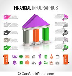 Money bank financial business infographic with paper bookmark option vector illustration