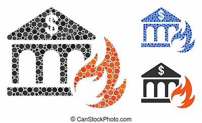 Bank fire disaster Mosaic Icon of Circle Dots - Bank fire...