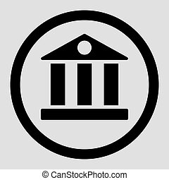 Bank flat black color rounded vector icon