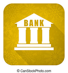 bank flat icon, gold christmas button