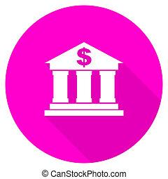 bank flat pink icon