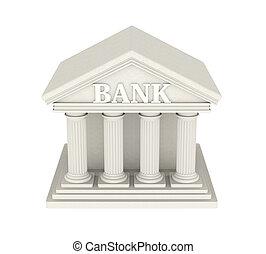 bank, gebouw, vrijstaand