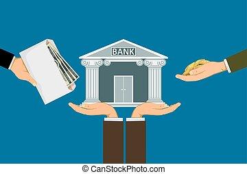bank., gens, investir, ou, dépôt, argent, savings., investissements