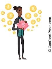 bank., giovane, piggy, presa a terra, africano, uomo affari