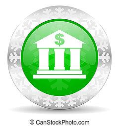 bank green icon, christmas button