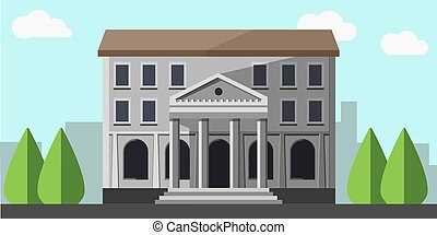 Bank grey building isolated near green trees vector picture...