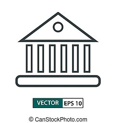 Bank, Home icon vector. Line style. Isolated on white. Vector Illustration EPS 10