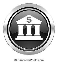 bank icon, black chrome button