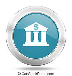 bank icon, blue round glossy metallic button, web and mobile app design illustration