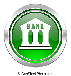 bank icon, green button