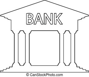 Bank icon on white background. Vector illustration.