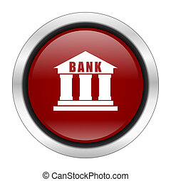 bank icon, red round button isolated on white background, web design illustration