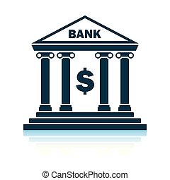 Bank icon. Shadow reflection design. Vector illustration.
