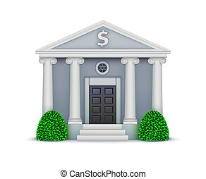 bank icon - illustration of cool detailed bank icon isolated...