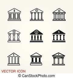 Bank icon vector, business centre illustration on background