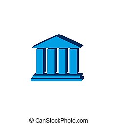 Bank Icon vectorisometric. 3d sign isolated on white background.