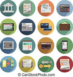 Bank Icons Flat Set