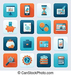 Bank icons set