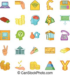 Bank icons set, cartoon style