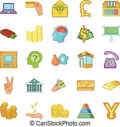 Bank icons set, cartoon style
