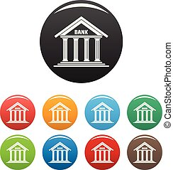 Bank icons set color vector