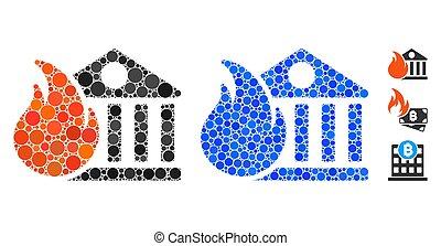 bank, ikone, posten, zusammensetzung, sphärisch, feuer,...