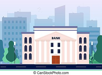 Bank in city. Business urban landscape with bank building...