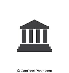 Bank institute icon vector logo. Courthouse bankruptcy ...
