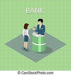 Bank Interior with Consulting - Isometric interior of the...