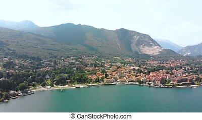 bank, jezioro, lot, miasto, maggiore, na