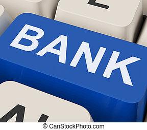 Bank Key Shows Online Or Internet Banking