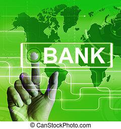 bank, landkarte, ausstellungen, online, und, internet...
