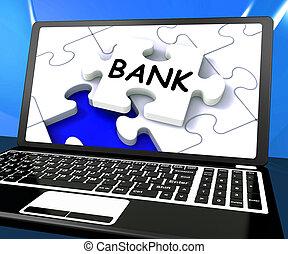 Bank Laptop Shows Internet Finance Www Or Electronic Banking