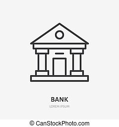 Bank line icon, vector pictogram of finance house. ...