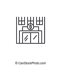 Bank linear icon concept. Bank line vector sign, symbol, illustration.