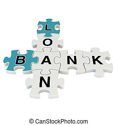 Bank loan 3d puzzle on white background