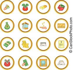 Bank loan credit icons circle