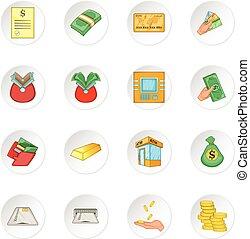 Bank loan credit icons set