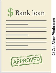 Bank loan document with approved stamp