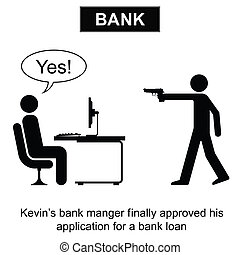 Bank Loan - Kevin finally got his bank loan cartoon isolated...