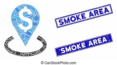 Bank Location Mosaic and Distress Rectangle Smoke Area Stamp Seals