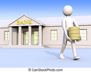 Bank & man & money 1 - A man going out of a bank with coins