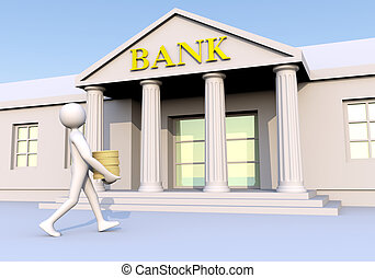 Man geting into a bank with money (coins) in his hands