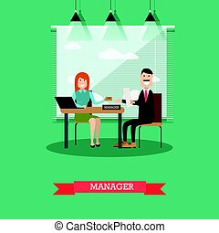 Bank manager concept vector illustration in flat style