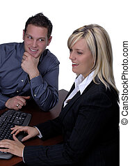 Bank Manager - Blond Female Bank Manager With Customer...