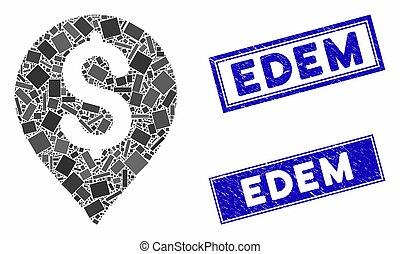 Bank Map Marker Mosaic and Grunge Rectangle Edem Stamp Seals