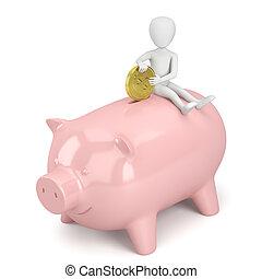 bank., mensen, geld, -, piggy, kleine, 3d